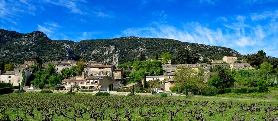 coquelicots et village de Maubec sur le versant  Nord du Luberon